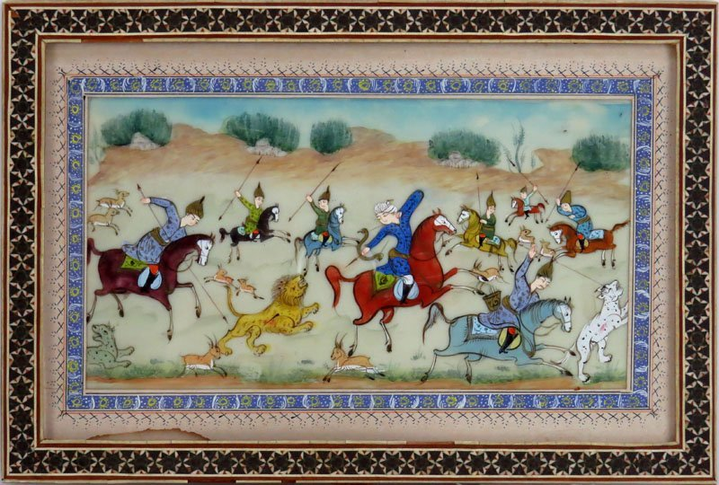 Persian Miniature on Celluloid. Good Condition, Water