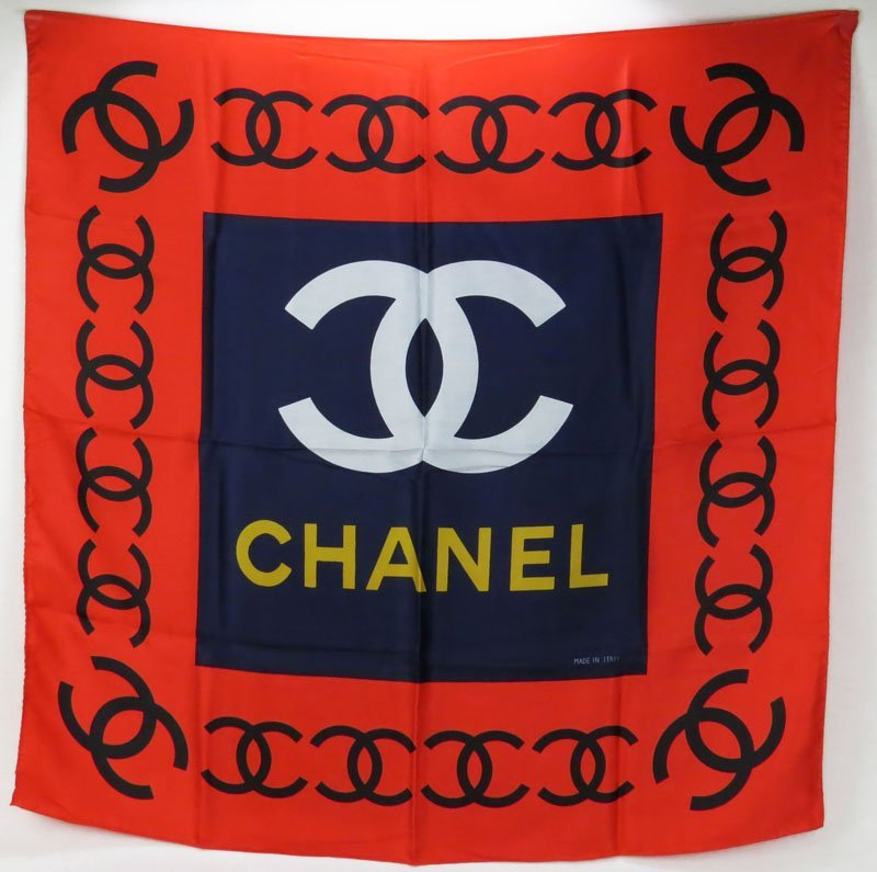 Chanel Silk Scarf. Very Good Condition. Measures 34