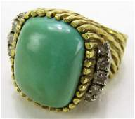 Antique Heavy Turquoise Ring Mounted in 18 k Yellow Gol
