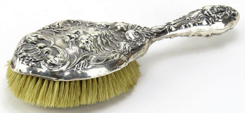 Unger Brothers Art Nouveau Sterling Silver Hair Brush