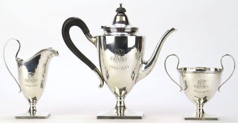Three (3) Piece Sterling Silver Tea Service. Includes: