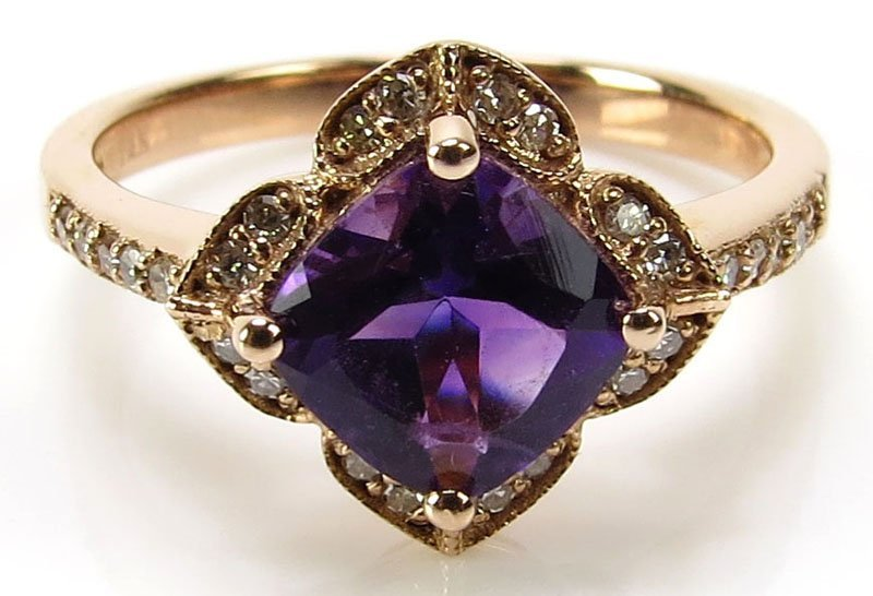 Lady's 14 Karat Rose Gold, Diamond and Amethyst and