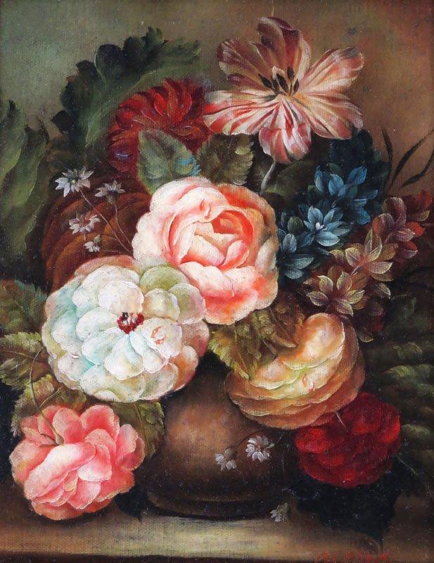 "Modern Oil on Canvas ""Still Life"" Framed in a Heavy"