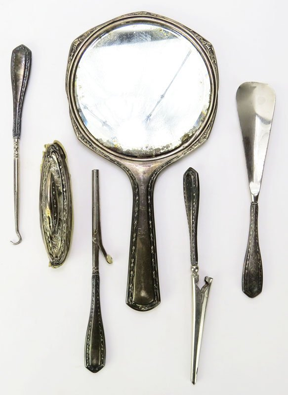 Six (6) Partial Sterling Silver Dresser/Vanity Set with