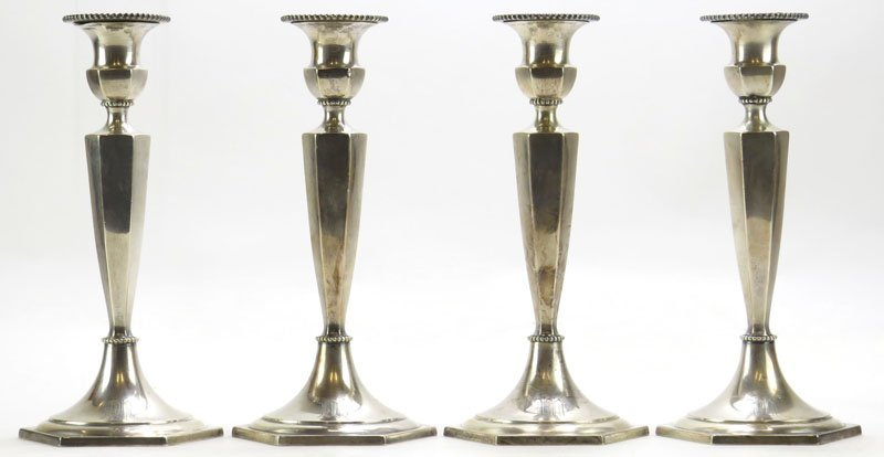 Four (4) Gorham Sterling Silver Candlesticks with