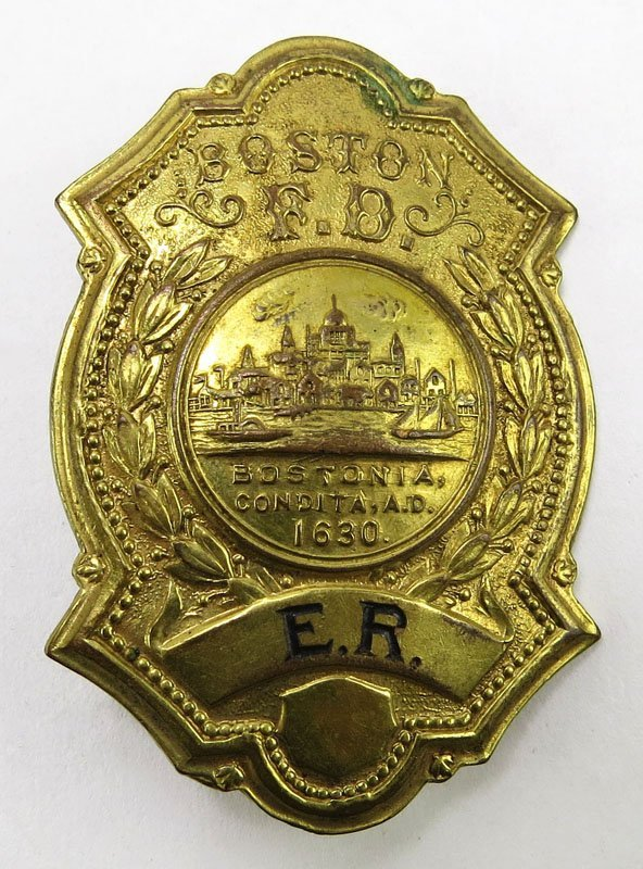 Boston Fire Department Badge Initials E. R. Stamped