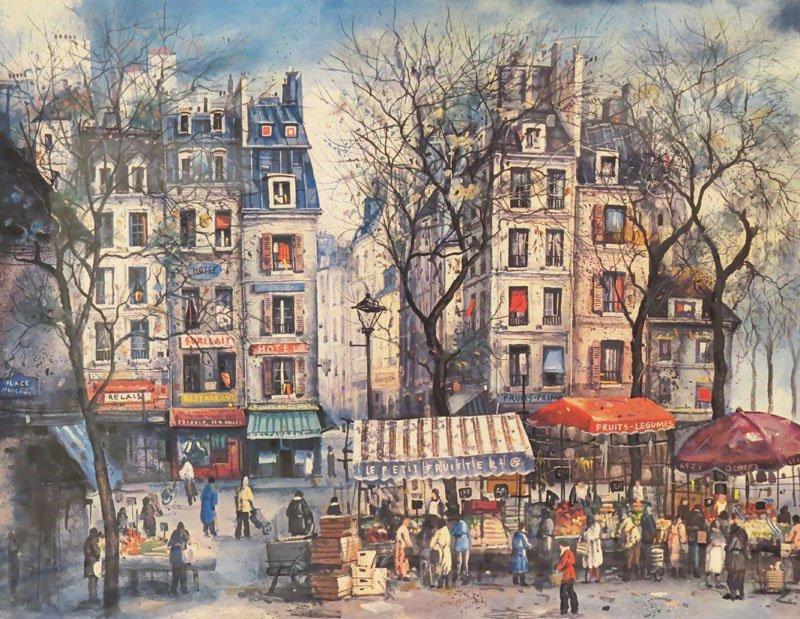 Andre Duboidt Lithograph French Street Scene. Frame