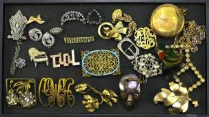 Tray Lot of Vintage and Antique Costume Jewelry Clips
