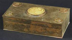 20th Century Gilt Metal Box with Jade Insert and