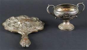 Art Nouveau Silver Plate Hand Mirror Tarnish