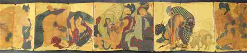Japanese 19th Century Erotic Shunga Book with Leather