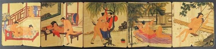 Chinese 19th Century Erotic Shunga Books with Leather