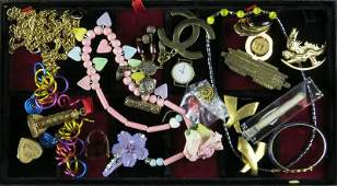 Tray Lot of Assorted Costume Jewelry and Related Items.