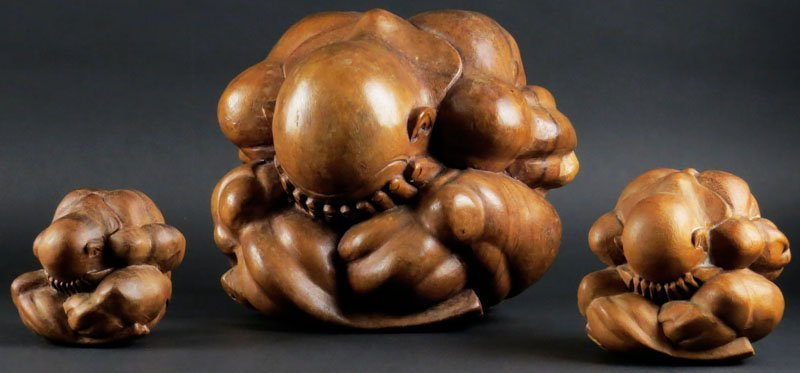 """20th Century Chinese Carved Sugar Wood """"Weeping Buddha"""""""