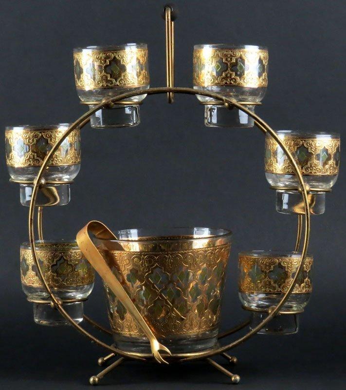 Mid Century Modern Circular Barware Set with Gilt