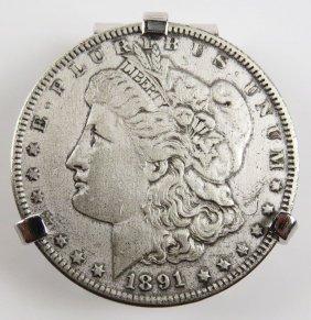 1891 Morgan Silver Dollar Money Clip. Signed Swank.