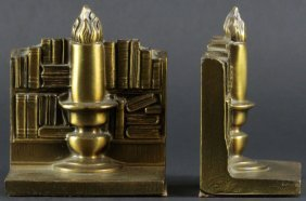 Pair of PM Craftsman Gilt Metal Bookends. Original