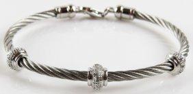 David Yurman Style Sterling Silver Bracelet with