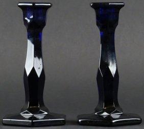 Pair of Cobalt Blue Glass Candle Sticks. Unsigned. Good
