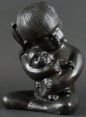 20th Century Bronze Sculpture of a Young Girl Hugging