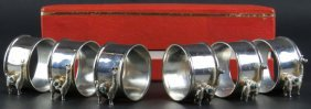 Boxed Set of Six (6) Sterling Silver Napkin Rings with