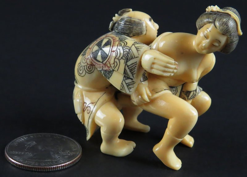 Chinese Carved Ivory Erotic Couple. Signed. Good
