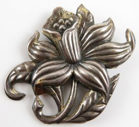 Bakecraft Sterling Silver Flower Pin. Signed on