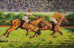 Modern American School Oil on Canvas Polo Players