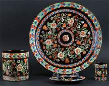 Unusual Four (4) Piece Assembled Majolica Style Pottery