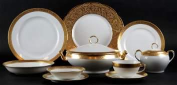Nine 9 Heavy Gilt Limoges France Dinner Plates