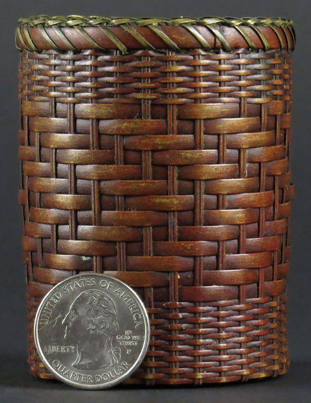Japanese Meiji Woven Stained Bamboo Ikebana/Basket.
