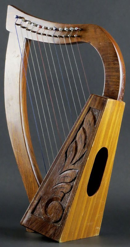 Exceptional Carved Wooden Tabletop Harp. Unsigned. Scuff Marks Or