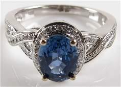 Ladys 120 Carat Sapphire and 30 Diamond 14 Karat