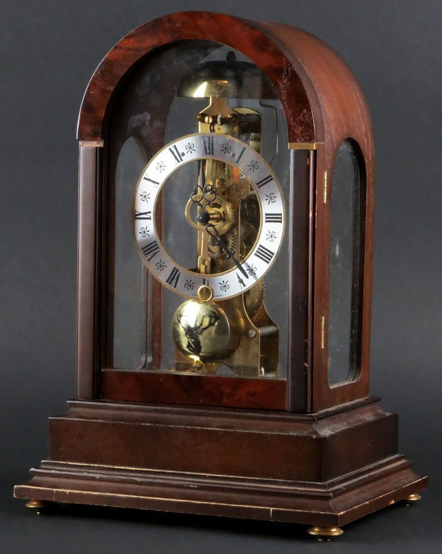 "Hermle Skeleton Clock. Signed ""Franz Hermle"". Includes"