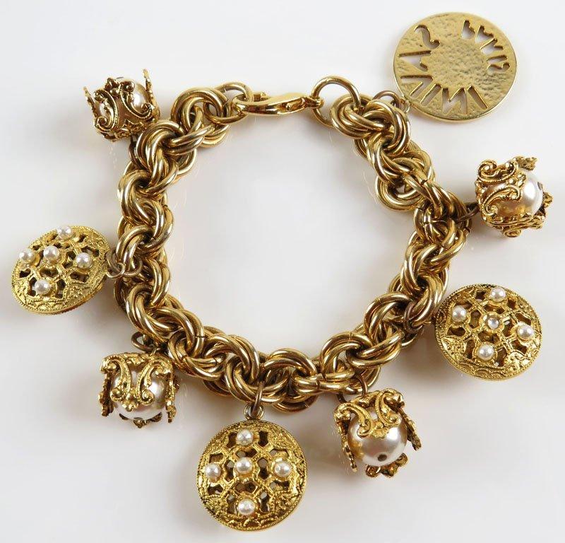 Vintage Savini Paris Costume Jewelry Charm Bracelet.