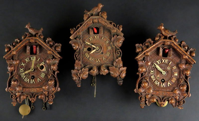 "Three (3) Lux Wood Birdhouse Clocks. Signed ""Lux Clock"