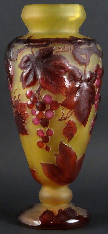 Galle Style Art Glass Vase. Bears Galle Signature. Good