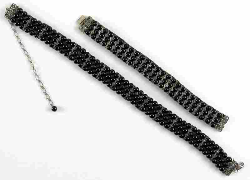 Vintage Sterling Silver, Black Onyx and Marcasite