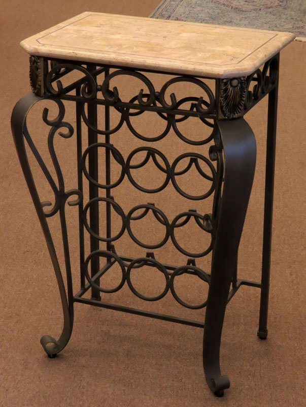 wrought iron wine rack table with faux marble top - Wine Rack Table