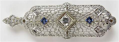 Art Deco 14 Karat White Gold Sapphire and Diamond