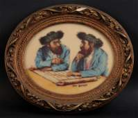 Vintage Artini Engraved and Hand Painted Judaica Scene