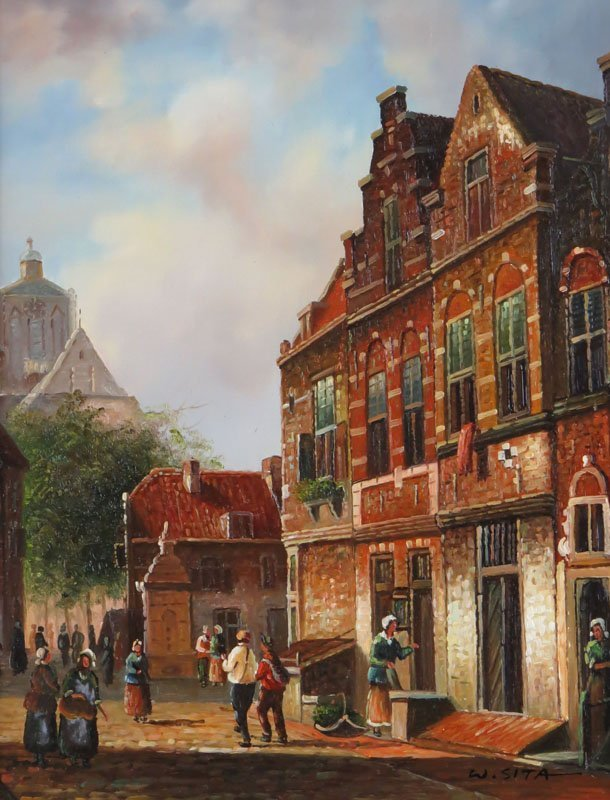 "Walter Sita (1900-1979) Oil on Board ""European Village"