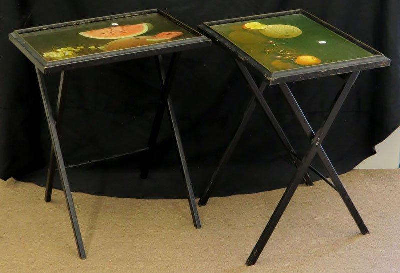 Two (2) Vintage TV Trays With Fruit Motif. Unsigned.