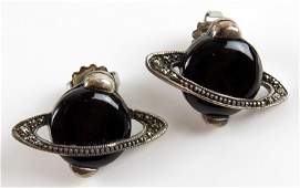 Pair of Sterling Silver Marcasite and Black Onyx