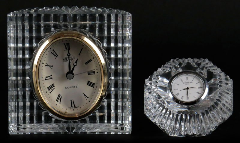Waterford and Mikasa Crystal Desk Clocks. Mikasa with