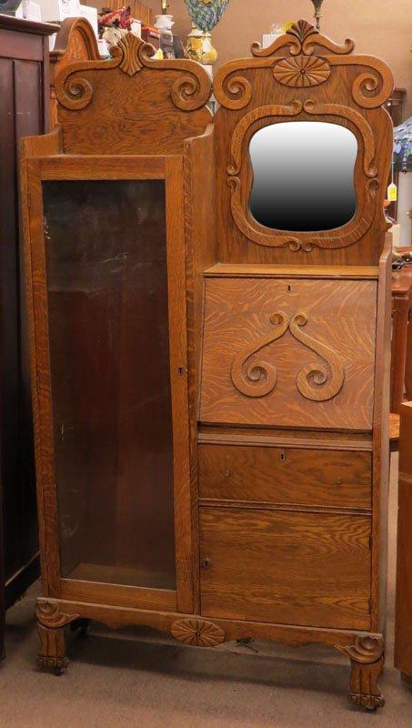 Antique Art Nouveau Oak Curio-Secretary Cabinet. Key