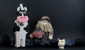 Wooden Country Kitchen Cow With Bell and Uncle Sam Door
