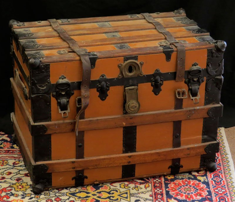 Beauty and Strength Wooden Traveling Trunk Dated