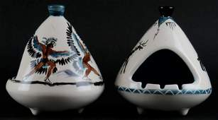 Two (2) 1970's Hand Painted Native American Indian