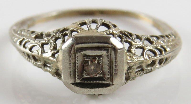 Antique 14 Karat Filigree White Gold and Diamond